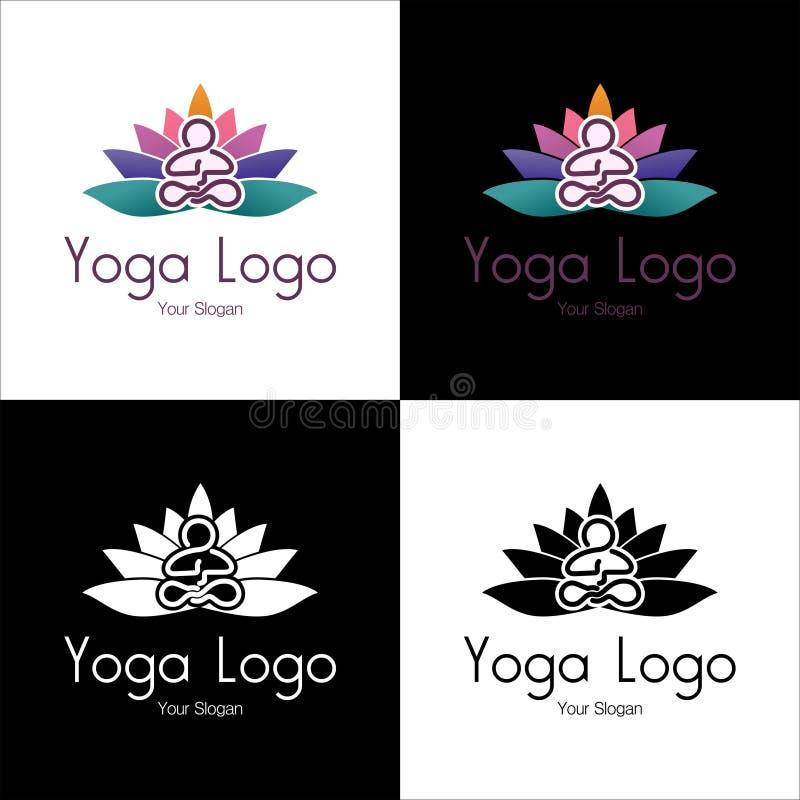 Logoen av kopplar av branscher, medititation, yoga och sporten med ställetext arkivbild