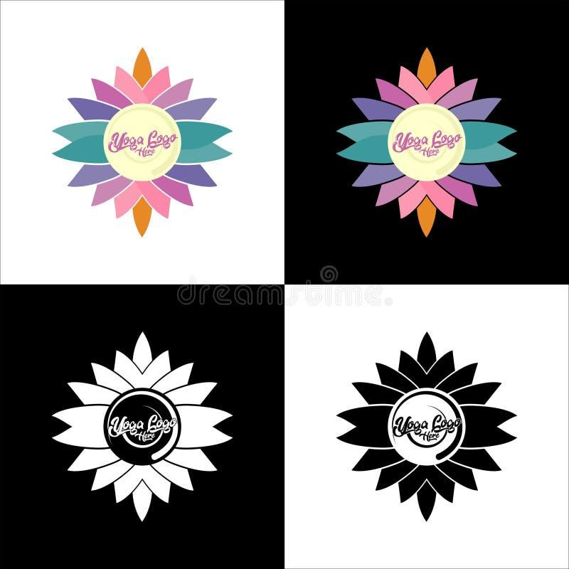 Logoen av kopplar av branscher, medititation, yoga och sporten med ställetext royaltyfri foto