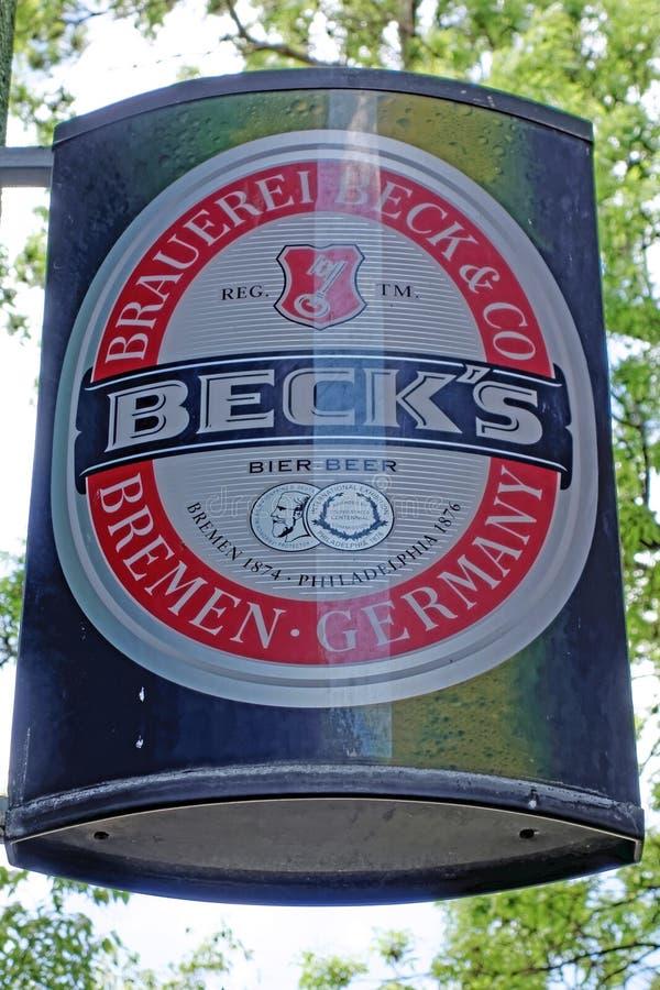 Logoen av märket Beck royaltyfri fotografi