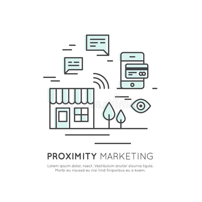 Logoen av närhetmarknadsföringen, den trådlösa internet Wi-Fi för den offentliga Hotspotzonen frigör Överföra meddelanden, inform royaltyfri illustrationer