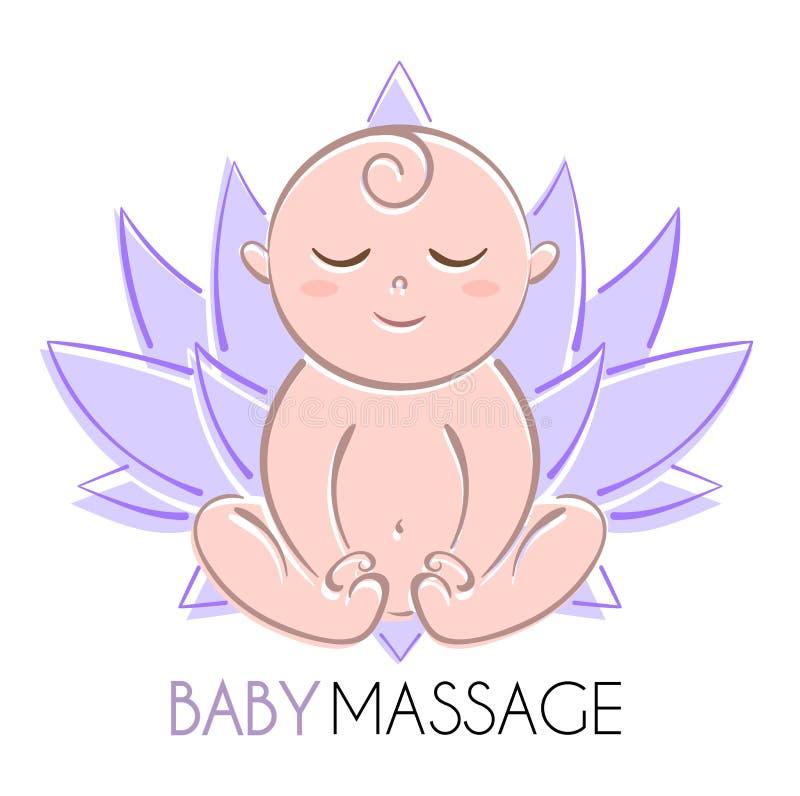 Logoen behandla som ett barn och lotusblomma stock illustrationer