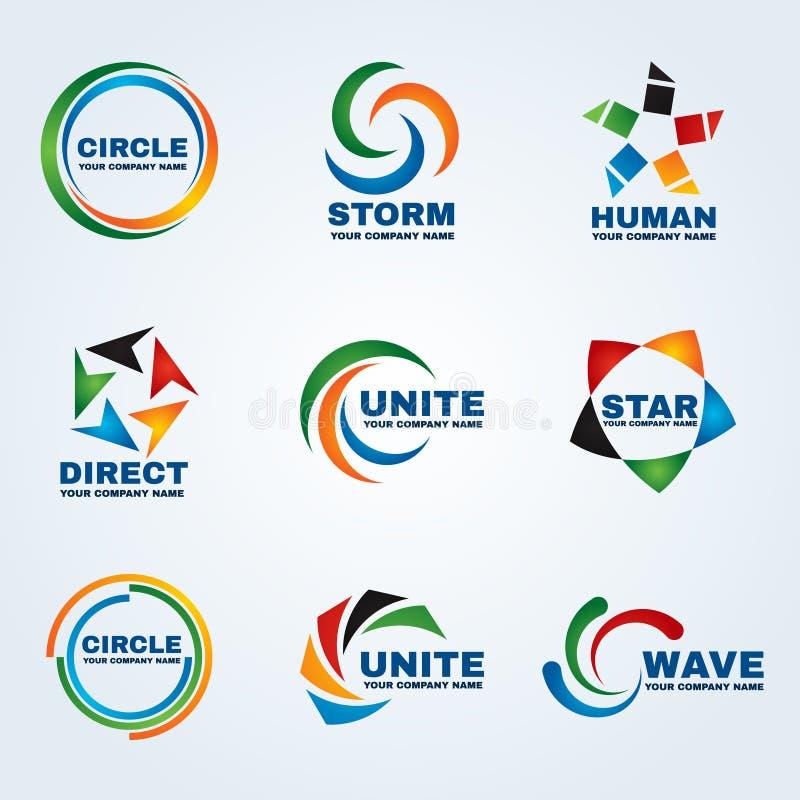 Logoen för den mänskliga logoen för logoen för cirkellogostormen förenar vinkar den direkta logostjärnalogo och designen för logo royaltyfri illustrationer