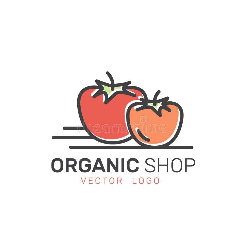 Logoen för den sunda organiska strikt vegetarian shoppar eller lagrar Gröna naturliga grönsak- och fruktsymboler, bonde Market Co royaltyfri illustrationer