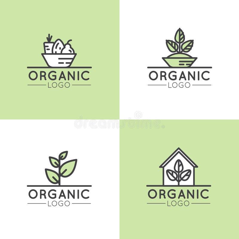 Logoen för den sunda organiska strikt vegetarian shoppar eller lagret, BIO och ECO-produkttecknet, grön växt med bladsymbol stock illustrationer
