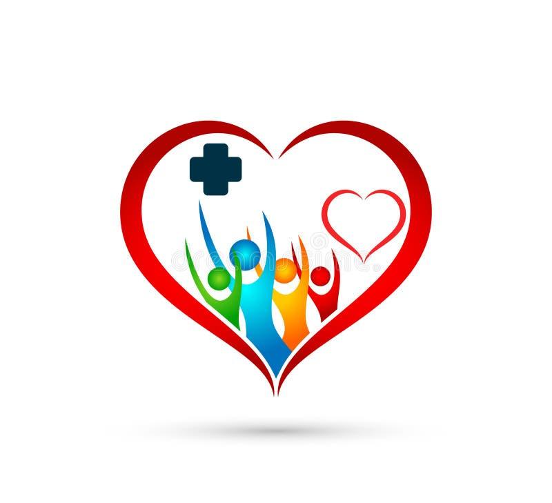 Logoen för folkfamiljmedicinsk vård i hör symbol för vinnande för lycka för formsymbol vård- vård- tillsammans för lag wellness f vektor illustrationer