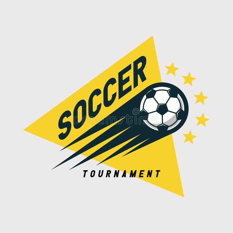 Logoen för fotbollfotbollturnering, emblem planlägger mallar på en ljus bakgrund vektor illustrationer