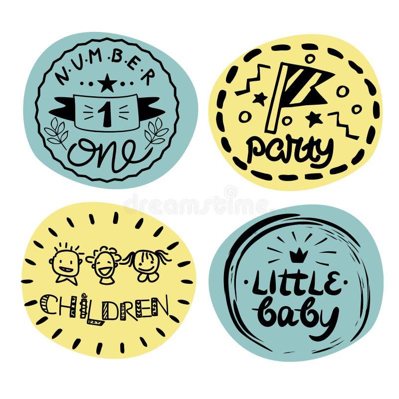 Logoen för fyra barn s med handskrift nummer ett, parti, hildren, behandla som ett barn lite vektor illustrationer