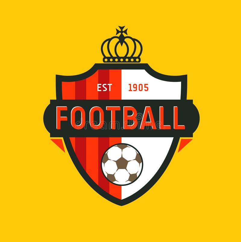Logoen för mästerskapet för fotboll för tappningfärgfotboll - team emblemet vektor illustrationer