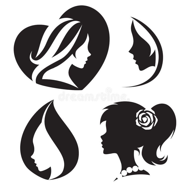 Logoen för vektormallabstrakt begrepp för kvinnasalonger och shoppar stock illustrationer