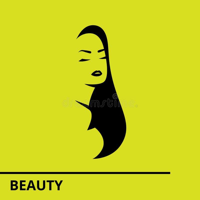 Logoen f?r vektormallabstrakt begrepp f?r sk?nhetsalong stiliserade profil av en ung h?rlig kvinna royaltyfri fotografi