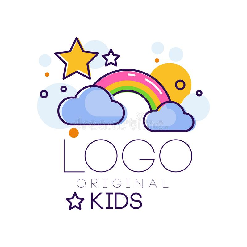 Logoen lurar den idérika begreppsmallen, designbeståndsdel med regnbågestjärnor, och moln räcker den utdragna vektorillustratione vektor illustrationer