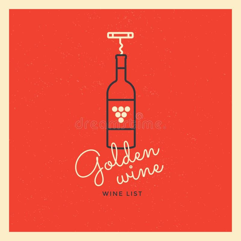 Logoen med en flaska av vin och en korkskruv på en röd bakgrund Logomall för att brännmärka design stock illustrationer