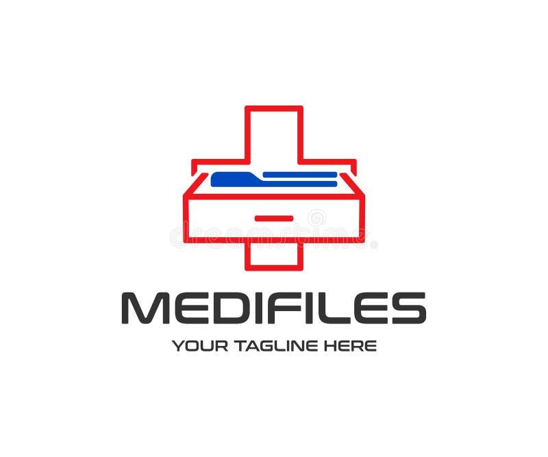 Logoentwurf der medizinischen Informationen Krankenblattarchiv-Vektorentwurf lizenzfreie abbildung