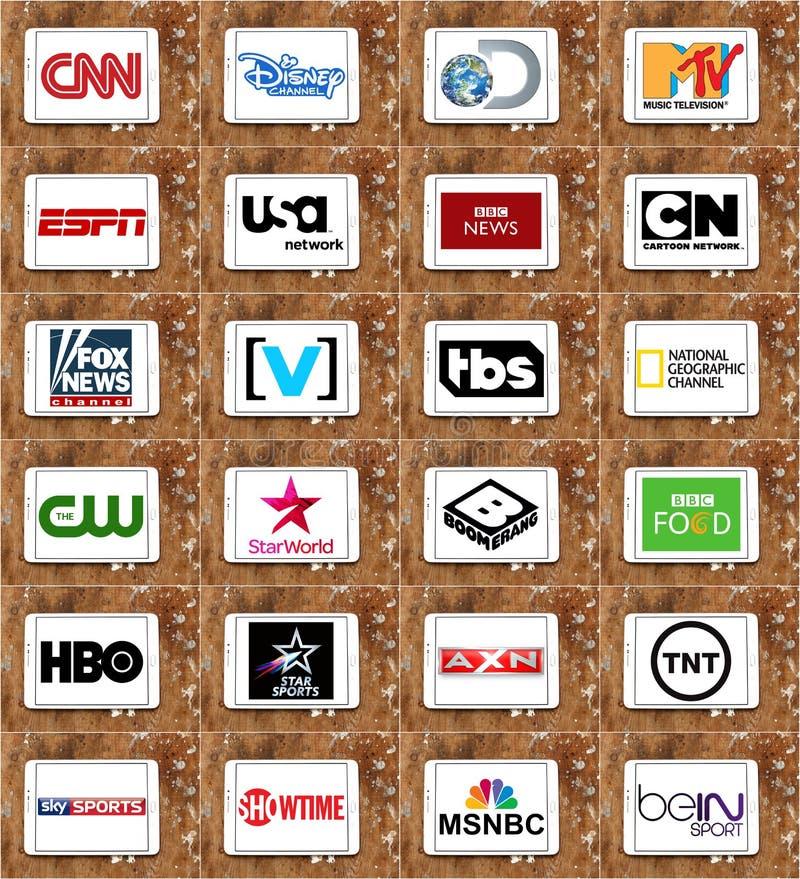 Logoer av bästa berömda TV-kanal och nätverk royaltyfri illustrationer