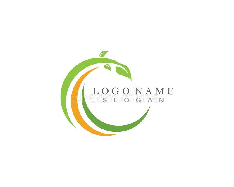 Logoer av den gröna symbolen för vektor för beståndsdel för bladekologinatur vektor illustrationer