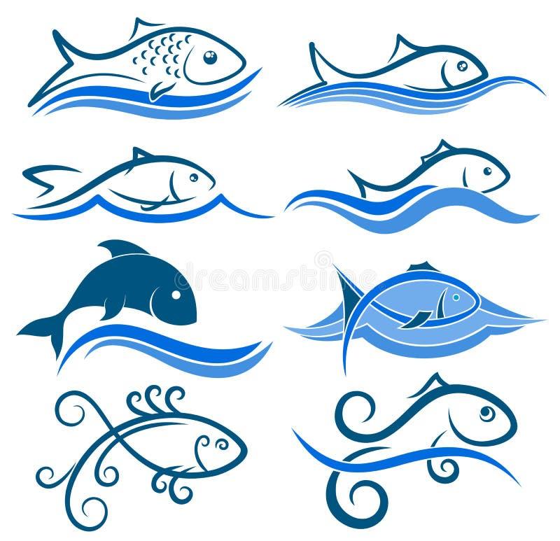 Logoer av fisken med vågen royaltyfri illustrationer
