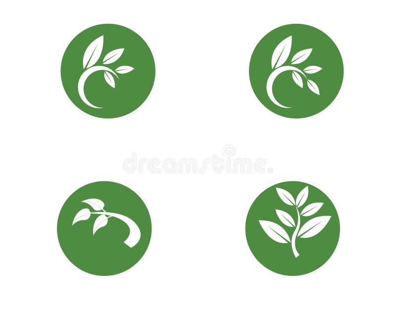 Logoer av gr?n tr?dbladekologi vektor illustrationer