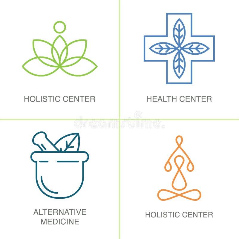 Logoer för alternativ medicin arkivbild