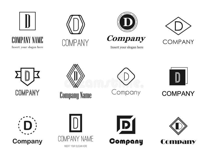 Logoer för bokstav D vektor illustrationer