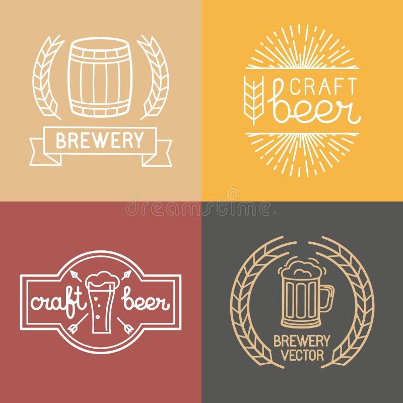 Logoer för för vektorhantverköl och bryggeri stock illustrationer