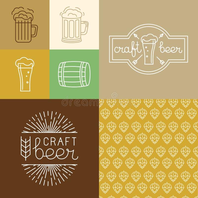 Logoer för för vektorhantverköl och bryggeri och designbeståndsdelar royaltyfri illustrationer