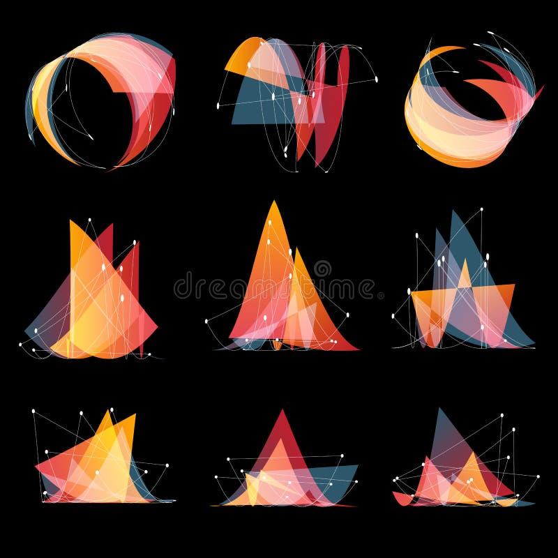 logoer för form för abstrakt rosa färgfärg ställde olika av trianglar, geometriska beståndsdelar, låg poly stil med prickar på in stock illustrationer