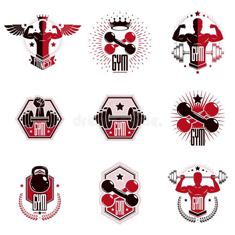 Logoer för klubba för idrottshalltyngdlyftning- och konditionsport royaltyfri illustrationer