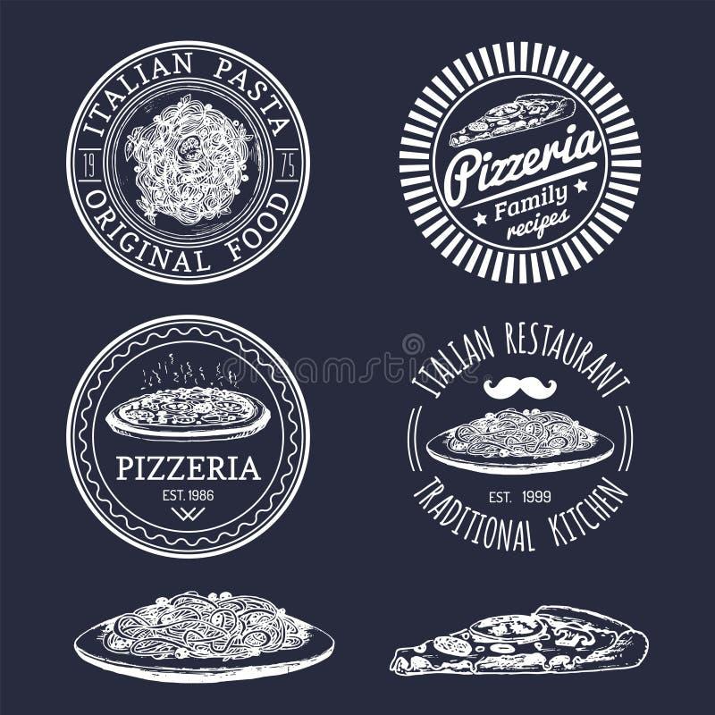 Logoer för mat för vektorhipster italienska Modernt pasta- och pizzatecken etc. Hand drog medelhavs- kokkonstillustrationer vektor illustrationer