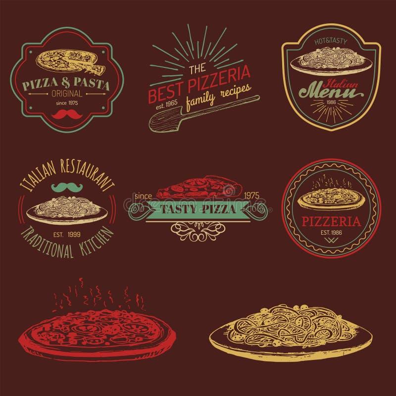 Logoer för mat för vektorhipster italienska Modernt pasta- och pizzatecken etc. Hand drog medelhavs- kokkonstillustrationer stock illustrationer