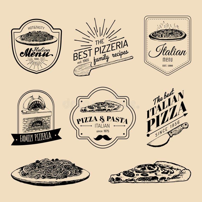 Logoer för mat för vektorhipster italienska Modernt pasta- och pizzatecken etc. Hand drog medelhavs- kokkonstillustrationer royaltyfri illustrationer