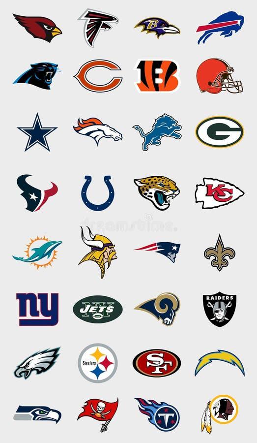 Logoer för NFL-lag royaltyfri illustrationer