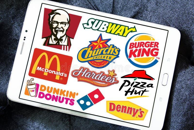 Logoer för snabbmatrestaurangmärken royaltyfri fotografi