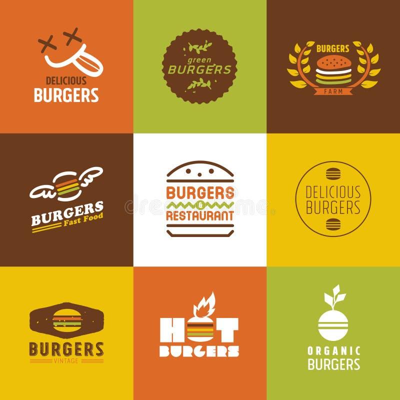 Logoer för snabbmatrestaurangvektor och symbolsuppsättning stock illustrationer