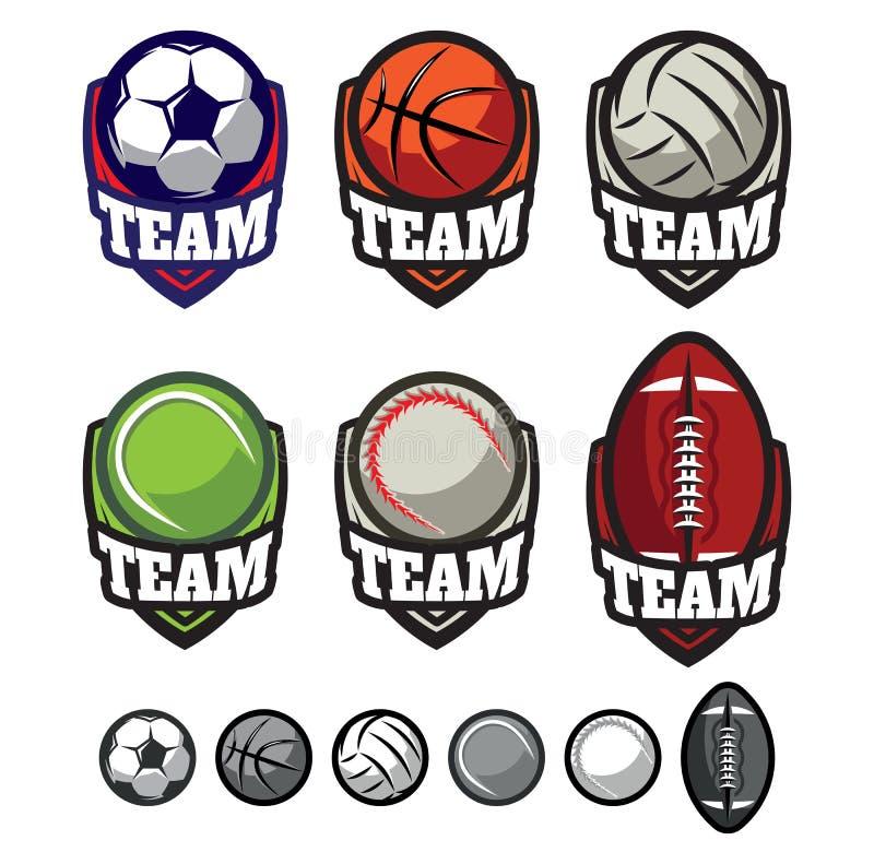 Logoer för sportlag med olika bollar vektor illustrationer