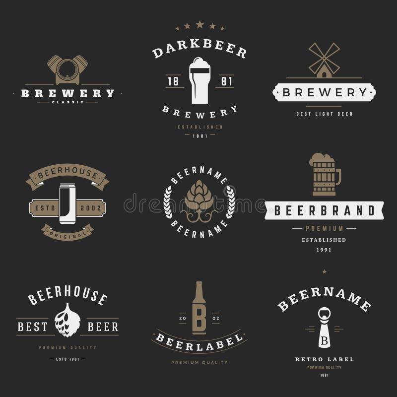 Logoer för tappningölbryggeri, emblem, etiketter stock illustrationer