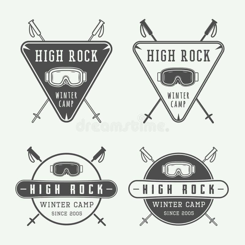 Logoer för tappningsnowboarding- eller vintersportar, emblem, emblem vektor illustrationer