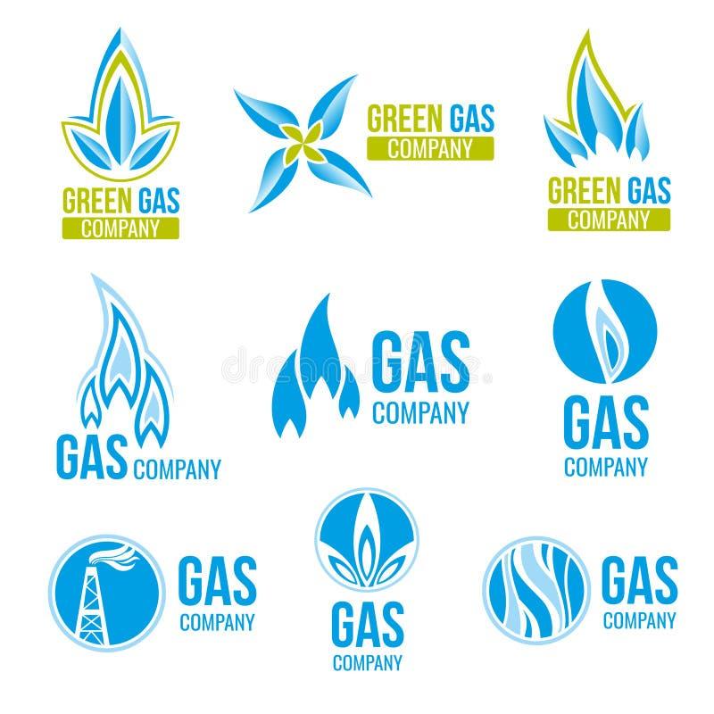 Logoer för vektor för gasbransch, symbolsuppsättning royaltyfri illustrationer