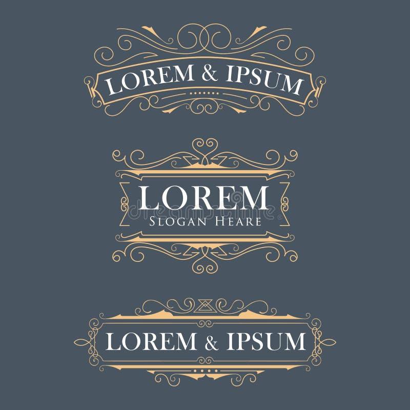 Logoer för vektor för lyxig kronaram frodas moderna kalligrafi el vektor illustrationer