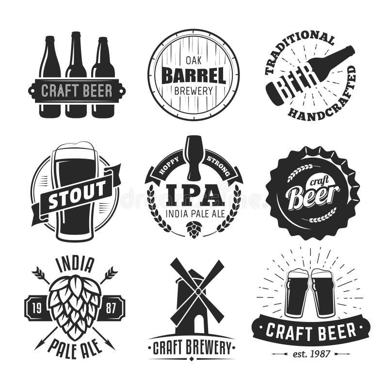 Logoer för vektorhantverköl royaltyfri illustrationer