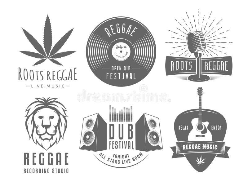 Logoer för vektortappningreggae stock illustrationer