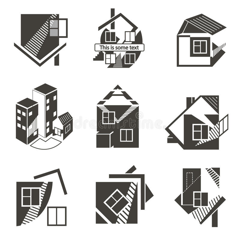 Logoer i form av hus royaltyfri illustrationer