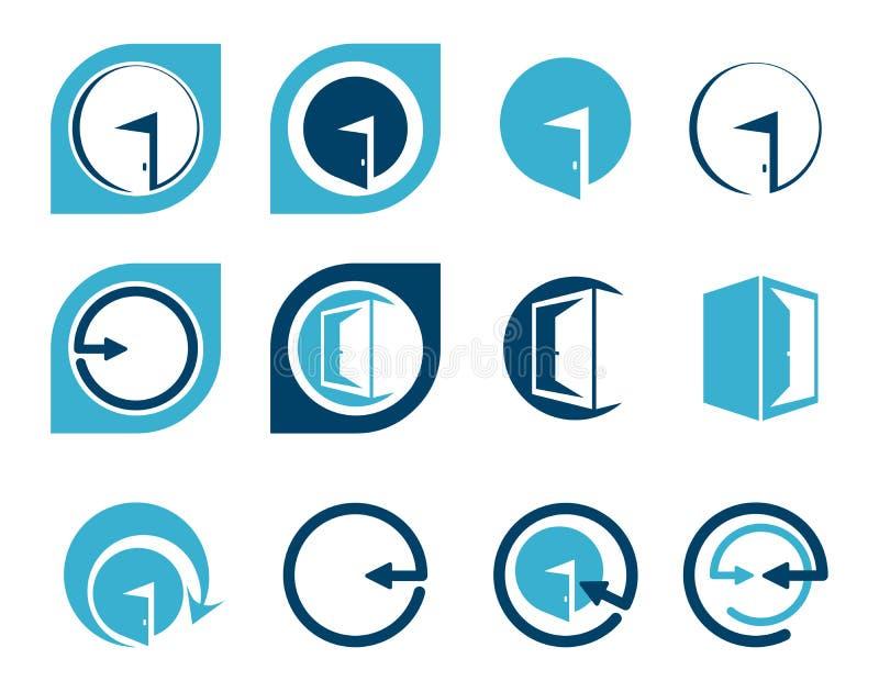 Logoer och beståndsdelar för ingångsdörr för design royaltyfri illustrationer