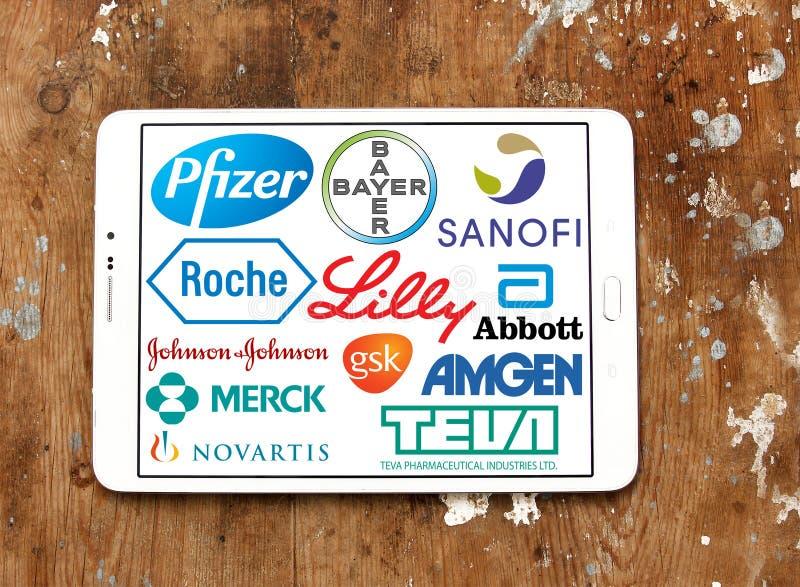 Logoer och symboler för farmaceutiska företag royaltyfria foton