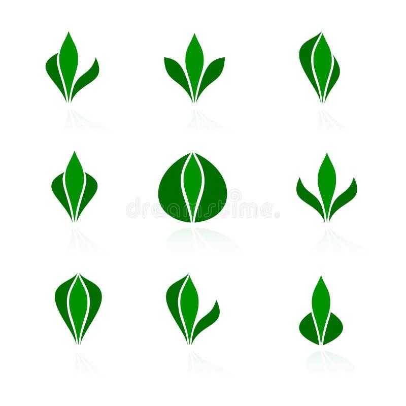 logoer planterar seten vektor illustrationer