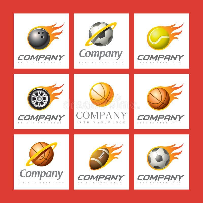 logoer ställde in sportar royaltyfri illustrationer