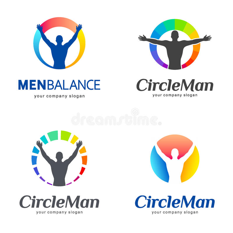 logoer ställde in vektorn Manjämvikt, kroppjämvikt vektor illustrationer
