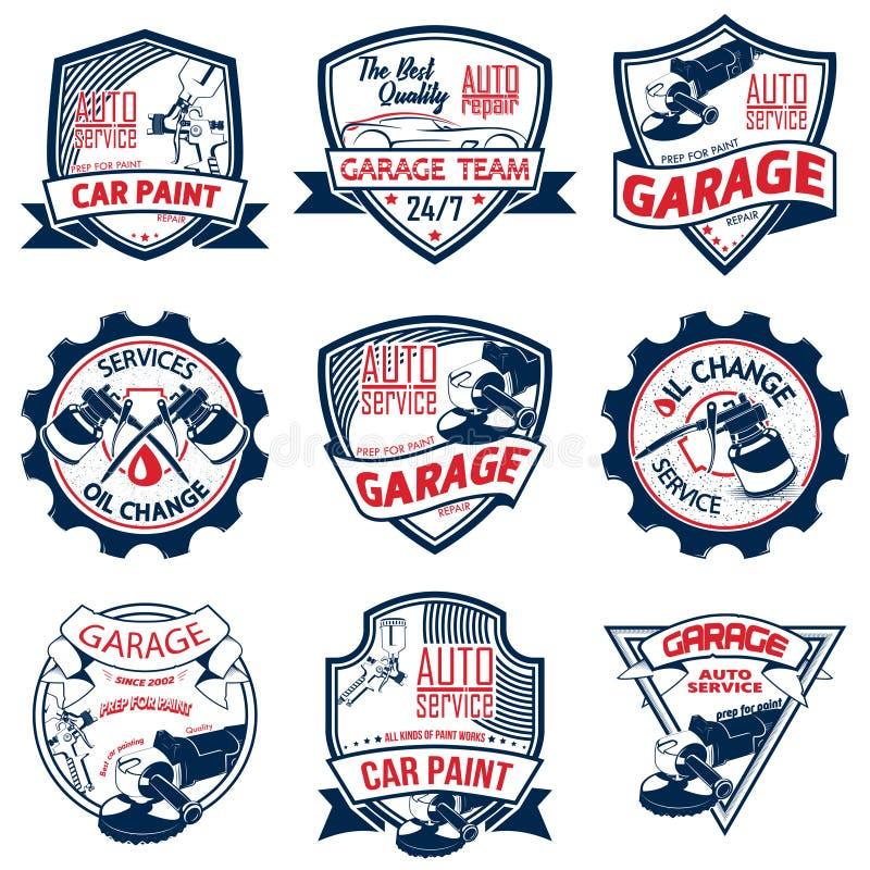 Logofarbe mit neun Autoreparaturen vektor abbildung
