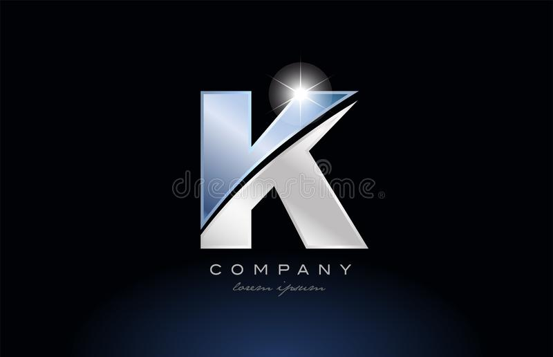 Logofirmenikonendesign des Metallblaues Alphabetbuchstaben k stock abbildung