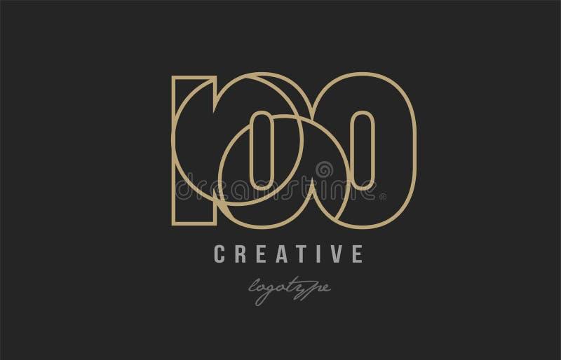 Logofirmenikonenentwurf der schwarzes und gelbes Goldzahl 100 stock abbildung