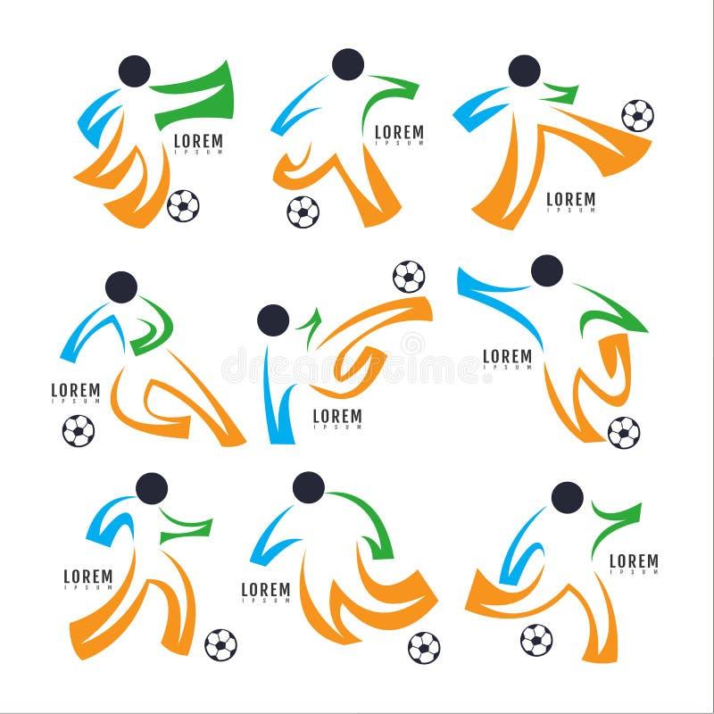 Logofußballsport Design-Sammlung Freeform Normales Leute ` s lizenzfreie abbildung